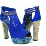 Sergio Rossi Blue Crystal Platform Booties