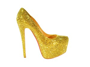 Gold Crystal Pumps - Christian Louboutin Daffodile