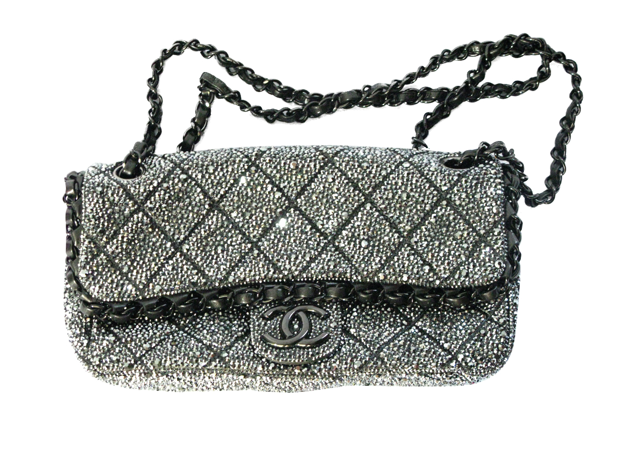 9f12b208c3e0 Chanel Purse Customized with Jet Hematite Swarovski Crystals ...