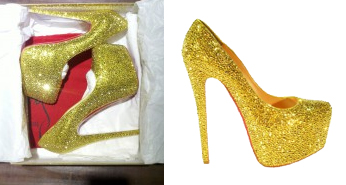 New In: Christian Louboutin Daffodile in Gold Aurum Crystals