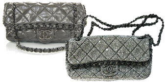 Chanel Purse Customized with Jet Hematite Swarovski Crystals